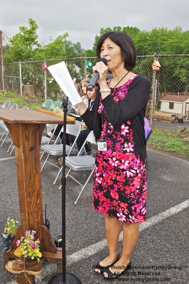 "Sue Ostrofsky, Principle of MKES., spoke on ""How the Garden Grew - The Story of the MKES Community Garden."" MKES Community Garden Grand Opening  on 6/14/11 Mt. Kisco, NY. ©Mardi Welch Dickinson/KymryGroup™ All Rights Reserved."