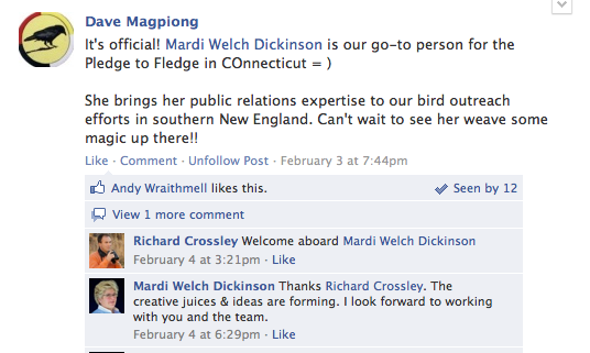 Mardi Dickinson is the Official Pledge to Fledge CT Coordinator.