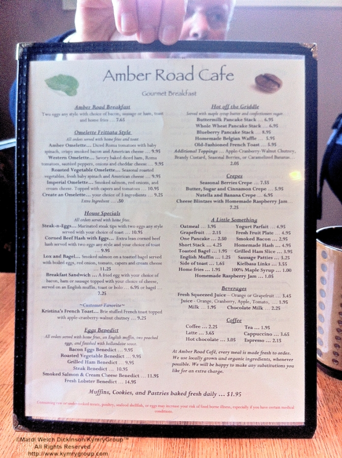 Amber Road Cafe Menu. ©Mardi Welch Dickinson/KymryGroup™ All Rights Reserved. http://www.kymrygroup.com