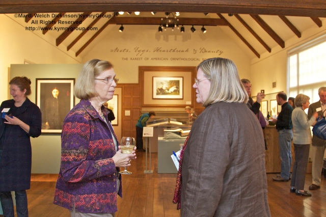 l. to r. Julianne Mehegan, MABA curatorial volunteer and Amy T. Montague, MABA director. Nests, Eggs, Heartbreak & Beauty exhibition, opening reception and book signing, Museum of American Bird Art at Mass Audubon. ©Mardi Welch Dickinson/Kymry Group. All Rights Reserved