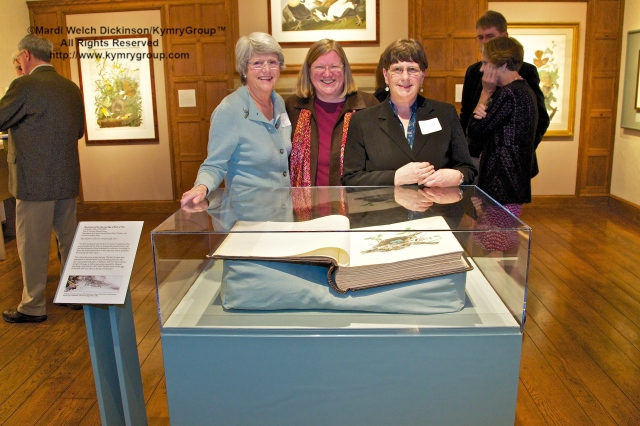 "l. to r. Nina Doggett, MABA Advisory Committee Chair; Amy T. Montague, MABA Director; Joy M. Kiser, author, ""America's Other Audubon."" Nests, Eggs, Heartbreak & Beauty exhibition, preview reception and book signing, 9/29/2012. Museum of American Bird Art (MABA) at Mass Audubon (formerly Mass Audubon Visual Asrts Center), ©Mardi Welch Dickinson/Kymry Group. All Rights Reserved"