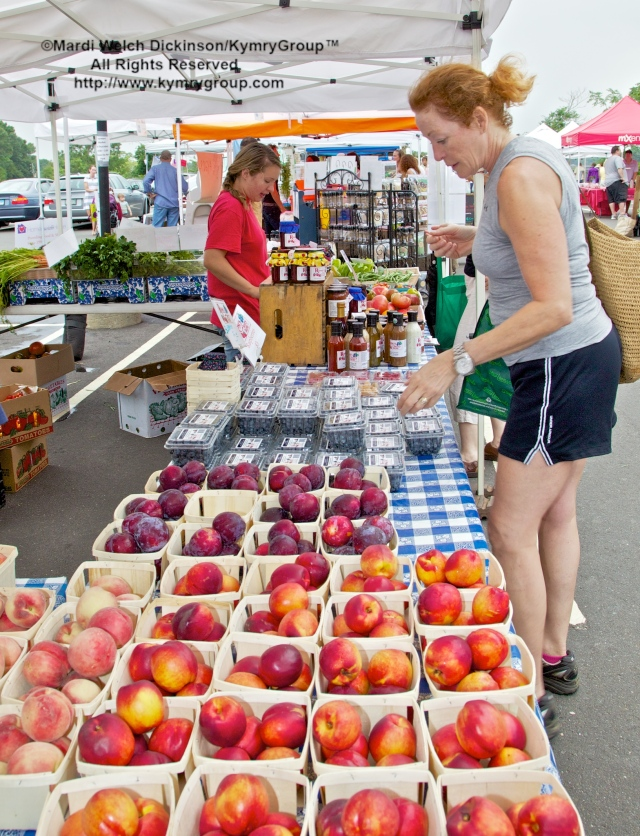 Customer buying fruit. Westport Farmers Market, ©Mardi Welch Dickinson/Kymry Group™ All Rights Reserved