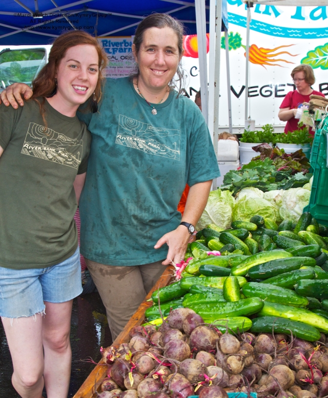 l. to r. ?, Laura McKinney, Co-Owner, Riverbank Farm LLC. Westport Farmers Market, ©Mardi Welch Dickinson/Kymry Group™ All Rights Reserved.