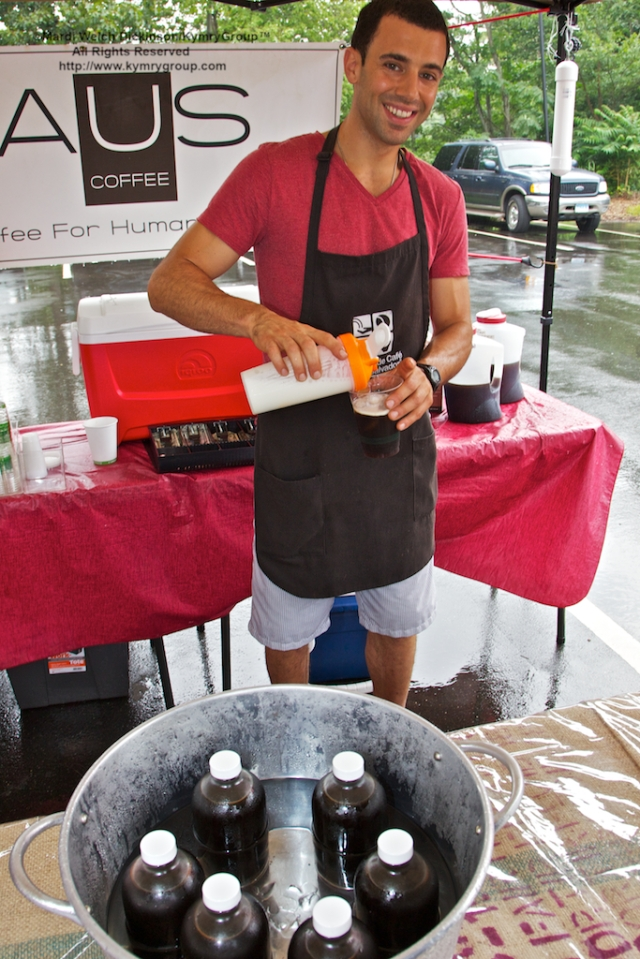 Donny Raus, Owner of Raus Coffee, Pouring a Cold Roman. Rich and delicious! Westport Farmers Market, ©Mardi Welch Dickinson/Kymry Group™ All Rights Reserved