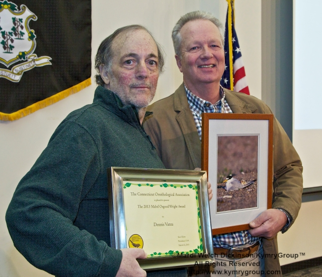 l. to r. Dennis Varza, Recipient, Mable Osgood Wright Award; Milan Bull, Senior Director of Science and conservation for CT Audubon Society; COA 29th Annual Meeting, Middlesex Community College. ©Mardi Welch Dickinson/KymryGroup™. All Rights Reserved.