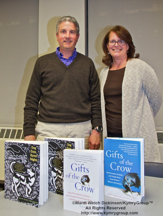 l. to r. John Marzluff, Author, Gifts of the Crow, Cynthia Chaldekas, Senior Librarian, Mid Mahattan, The New York Public Library. Lecture presented at the New York Mid-Manhattan Public Library, New York NY on April 2, 2013. ©Mardi Welch Dickinson/KymryGroup™. All Rights Reserved.