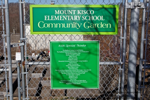 With Special Thanks sign to entrance of Mt. kisco Elelmentary School Community Garden. Bedford 2020 VegOut Event held at the Mt. Kisco Elelmentary School Community Garden, Mt Kisco, NY. April 6, 2013. ©Mardi Welch Dickinson/ Kymry Group. All Rights Reserved.