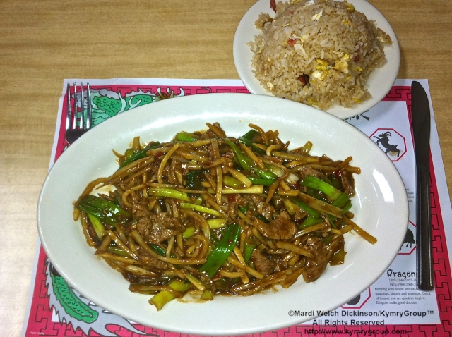 Pork Fried Rice, Beef w scallions, bamboo shoots, brown sauce. Seoul Garden Chinese Restaurant, Oak Harbor, OH. ©Mardi Welch Dickinson/ KymryGroup™ All Rights Reserved.