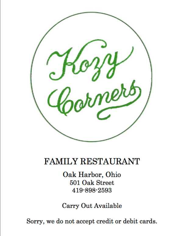 Kozy Corners Family Restaurant. Oak Harbor, OH. ©Mardi Welch Dickinson/ KymryGroup™ All Rights Reserved.