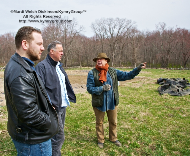 l. to r. Sam Epps, Chef de Cuisine,Tarry Lodge; Andy Nusser, Executive Chef/Partner,Tarry Lodge; Mimi Edelman, Farmer/Owner, I and Me Farm. Chef Farm Tour & Luncheon, Slow Food Metro North on April 15, 2013. ©Mardi Welch Dickinson/KymryGroup™. All Rights Reserved.