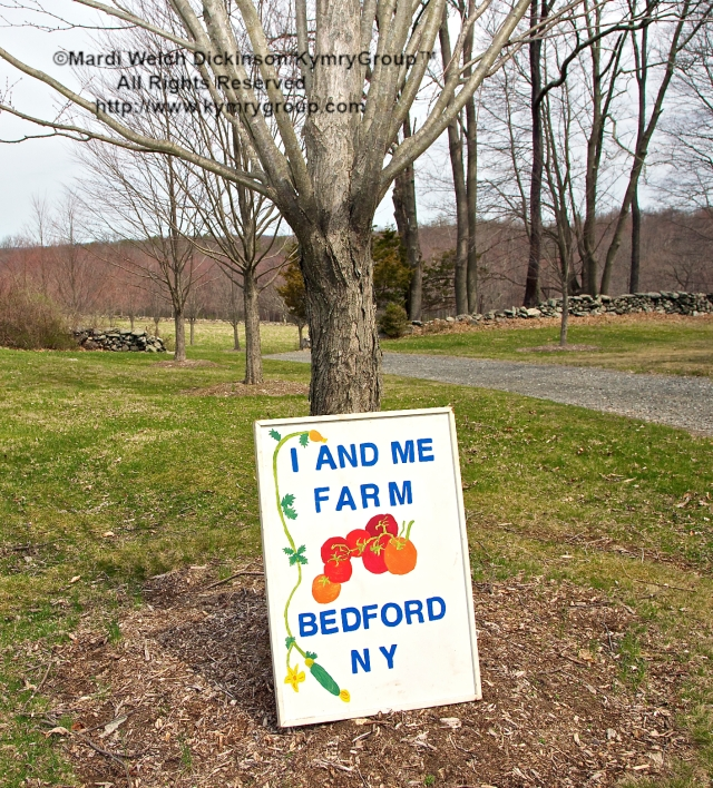 I and Me Farm Sign & Entrance; Mimi Edelman, Farmer/Owner. Chef Farm Tour & Luncheon, Slow Food Metro North April 15, 2013. ©Mardi Welch Dickinson/KymryGroup™. All Rights Reserved.