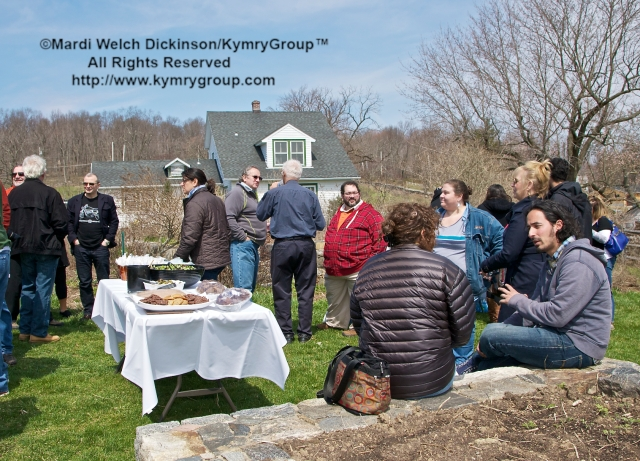 Chefs and Farmers gather for lunch at Hilltop Hanover Farm after visiting up to thirteen different Farms in Westchester NY & Connecticut. Chef Farm Tour & Luncheon, Slow Food Metro North, April 15, 2013. ©Mardi Welch Dickinson/KymryGroup™ All Rights Reserved.