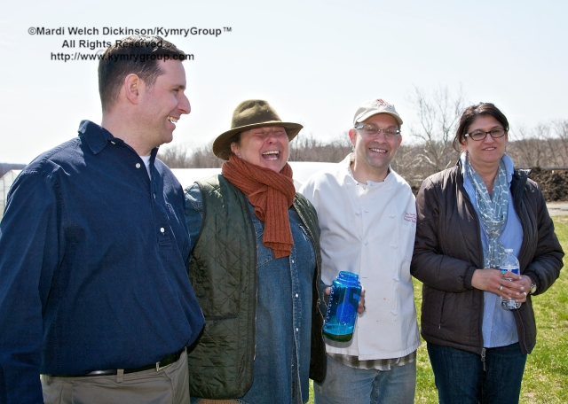 Hilltop Hanover Farm. l. to r. Mimi Edelman, Farmer/Owner, I and Me Farm; Quint Smith, Executive Chef, Stamford Yacht Club; Lucille Munz, Farm Director, Hilltop Farm. Chef Farm Tour & Luncheon, Slow Food Metro North on April 15, 2013. ©Mardi Welch Dickinson/KymryGroup™ All Rights Reserved.
