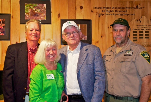 "l. to r. Milan Bull, Director of Science and Conservation, CT Audubon Society;  Liz-Ann Koos, President, Friends of Sherwood Island S.P; Phil Donahue, Emmy Award-winning television personality & keeper of the Purple Martins, aka ""Gazebo Phil"";  Jim Beschle, Park Supervisor, Sherwood Island S.P.  Friends of Sherwood Island, 15th Annual Meeting held at Sherwood Islands S.P. Nature Center on June 6, 2013. ©Mardi Welch Dickinson/ KymryGroup™ All Rights Reserved."