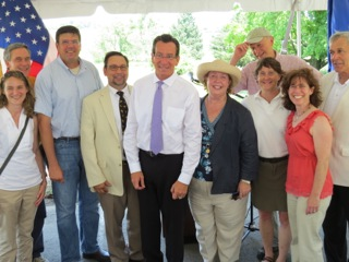l. to r. Lisa Bassani (Exec Dir Working Lands Alliance), John Pittari (BOTR Stewardship Board), Henry Talmage (Exec Dir CT Farm Bureau), DoAg Cmr. Steve Reviczky, Governor Malloy, Sandy Breslin, Director of Governmental Affairs, Audubon Connecticut, NAS; Leslie Kane, Tom Crider ( Pres. Southbury Land Trust behind Leslie), Amy Paterson (Exec Director, CT Land Conservation Council) and Southbury First Selectman, Ed Edelson. Governor Malloy's signing of Bill to Protect Southbury Training School Farmlands on July 16, 2013. ©Karen Huber. All Rights Reserved.
