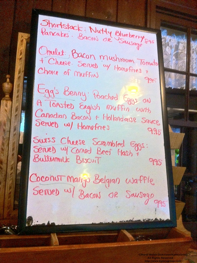 Menu Daily Specials at Old Blue Bird Cafe, Easton CT. ©Mardi Welch Dickinson/ KymryGroup™. All Rights Reserved.