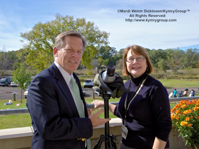 l to r. Stewart  J. Hudson, Vice President & Executive Director of Audubon Connecticut; Deputy Commissioner Susan Whalen. Commissioner in your Corner, Celebrating New Haven Parks; Urban Oases for Birds and Wildlife. Barnard Nature Center, West River Memorial Park, New Haven, CT. ©Mardi Welch Dickinson/KymryGroup. All Rights Reserved.