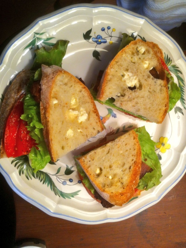 Summer local Tomatoes and leaf lettuce from Sport Hill Farm, Chipotle Bacon from Ox Hollow Farm and Pain de Campagne (Country Bread) is the original Wave Hill Breads©Mardi Welch Dickinson/ KymryGroup. All Rights Reserved.