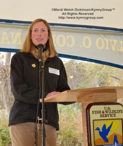 U.S. Fish and Wildlife Service Northeast Regional Director Wendi Weber addresses partners, school students, and local neighborhood groups at the New Haven Harbor Watershed Urban Wildlife Refuge Partnership designation.©Mardi Welch Dickinson/ KymryGroup. All Rights Reserved. National Wildlife Refuge Partnership, West River Memorial Park, New Haven, CT on October 30, 2013.