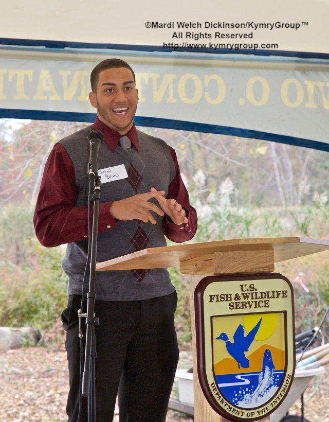 Michael Bruno, a graduate of Common Ground High School speaks about the influence the partnerships in New Haven have had on him. Audubon Connecticut  Urban Oases program celebration. Barnard Nature Center, West River Memorial Park, New Haven, CT. October 30. 2013. ©Mardi Welch Dickinson/ KymryGroup. All Rights Reserved.