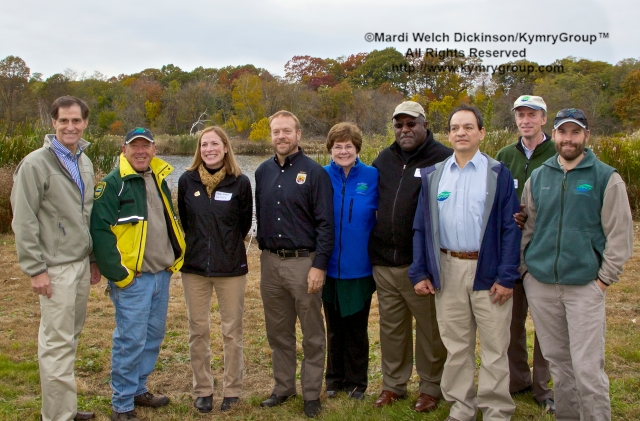 U.S. Fish and Wildlife Service Director Dan Ashe and Northeast Regional 5 Director Wendi Weber with the New Haven Parks, Recreation and Trees Staff at the Audubon Connecticut  Urban Oases Program Celebration. National Wildlife Refuge Partnership, Barnard Nature Center, West River Memorial Park, New Haven, CT on October 30.2013. ©Mardi Welch Dickinson/KymryGroup. All Rights Reserved.