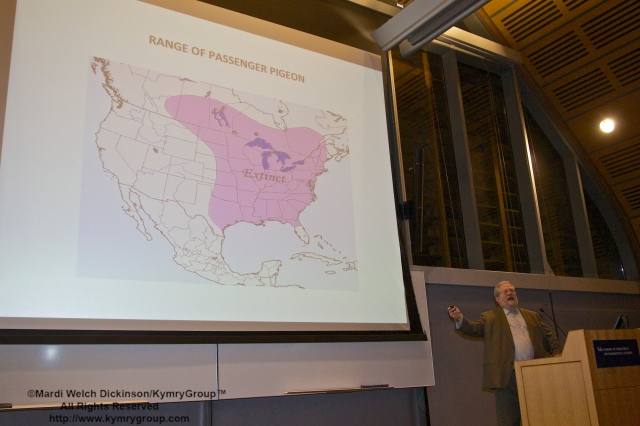 "Range Map of Passenger Pigeon. Joel Greenberg, author talk on ""A Feathered River across the Sky. The Passenger Pigeon's Flight To Extinction."" at Yale School of Forestry & Environmental Studies. New Haven, CT. March 12, 2014. ©Mardi Welch Dickinson/KymryGroup™"