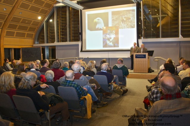 "l to r. Alex R. Brash President, CT Audubon Society, Joel Greenberg, author talk on ""A Feathered River across the Sky. The Passenger Pigeon's Flight To Extinction"" at Yale School of Forestry & Environmental Studies. New Haven, CT. March 12, 2014. ©Mardi Welch  Dickinson/KymryGroup™All Rights Reserved."