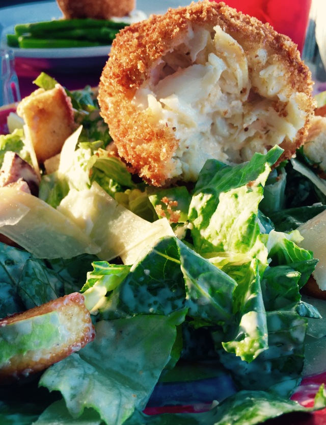 Gillian's Restaurant and Bar Historic Lewes, Delaware. Crab Cake with caesar salad & dressing, . ©Mardi Welch Dickinson/ KymryGroup™ All Rights Reserved.