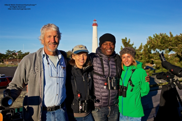 Cape May Fall Birding Festival L. to R. Kevin Karlson Photographer; Dale Rosselet, VP Education, NJ Audubon; David Lindo, Urban Birder; Vanessa Palacios. Cape May Hawk Watch Platform, Cape May Point State Park, NJ. ©Mardi Welch Dickinson