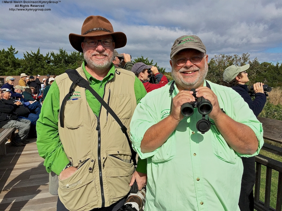 L to R. Kevin Laughlin and Greg Miller, Wildside Nature Tours & CMFBF Exhibitor at Cape May Point Hawk Watch Platform, Cape May Point State Park, NJ. ©Mardi Welch Dickinson.