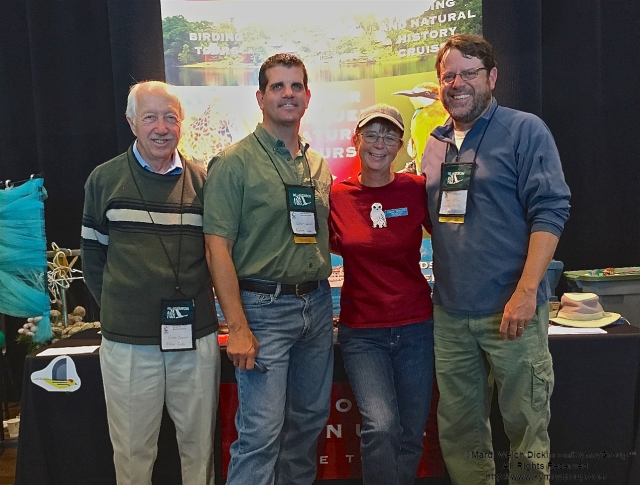 L. to R. Victor Emanuel, Barry Lyons, Louise Zemaitis & Michael O'Brien of VENT & CMFBF Exhibitors, Cape May Fall Birding Festival Trade Show, Convention Hall, Cape May, NJ. ©Mardi Welch Dickinson All Rights Reserved.