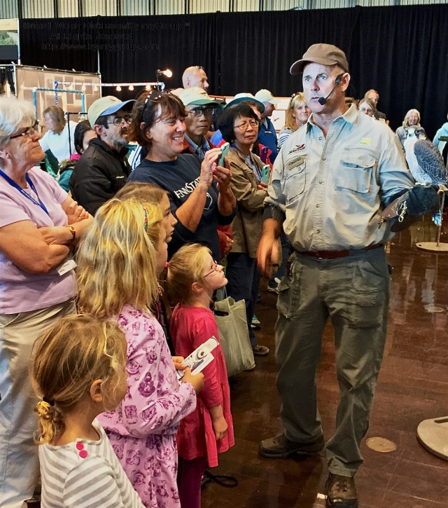 Jonathan Wood, The Raptor Project entertains packed house & marks the return of THE BIRD SHOW at Cape May Fall Festival 2015 Trade Show, Convention Hall, Cape May NJ. ©Mardi Welch Dickinson. All Rights Reserved.